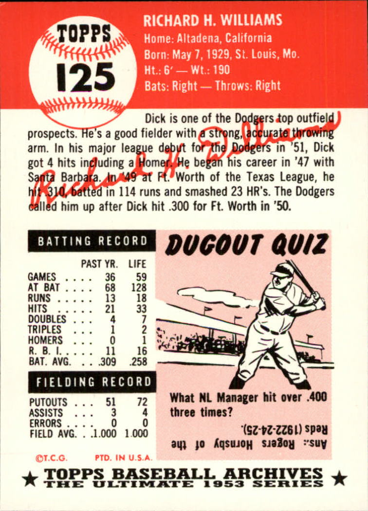 1991 Topps Archives 1953 #125 Dick Williams back image