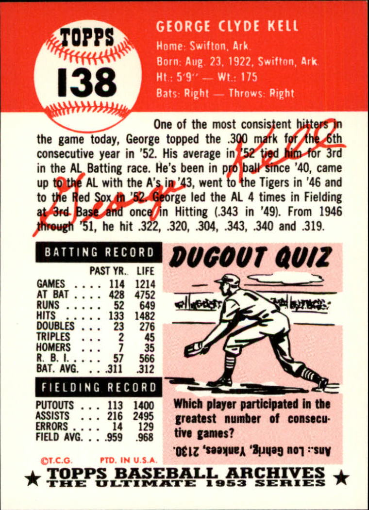 1991 Topps Archives 1953 #138 George Kell back image