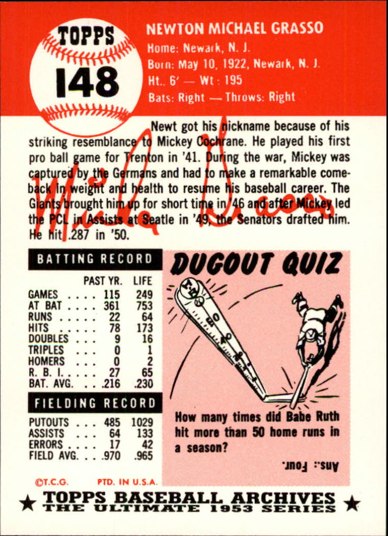 1991 Topps Archives 1953 #148 Mickey Grasso back image