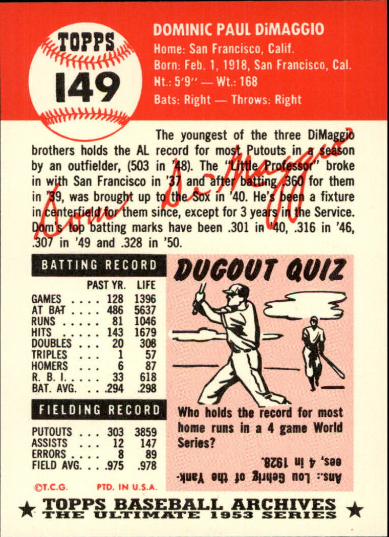 1991 Topps Archives 1953 #149 Dom DiMaggio back image