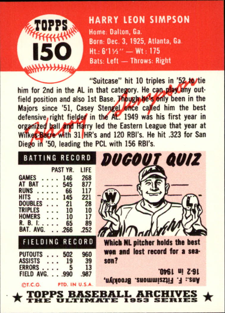 1991 Topps Archives 1953 #150 Harry Simpson back image