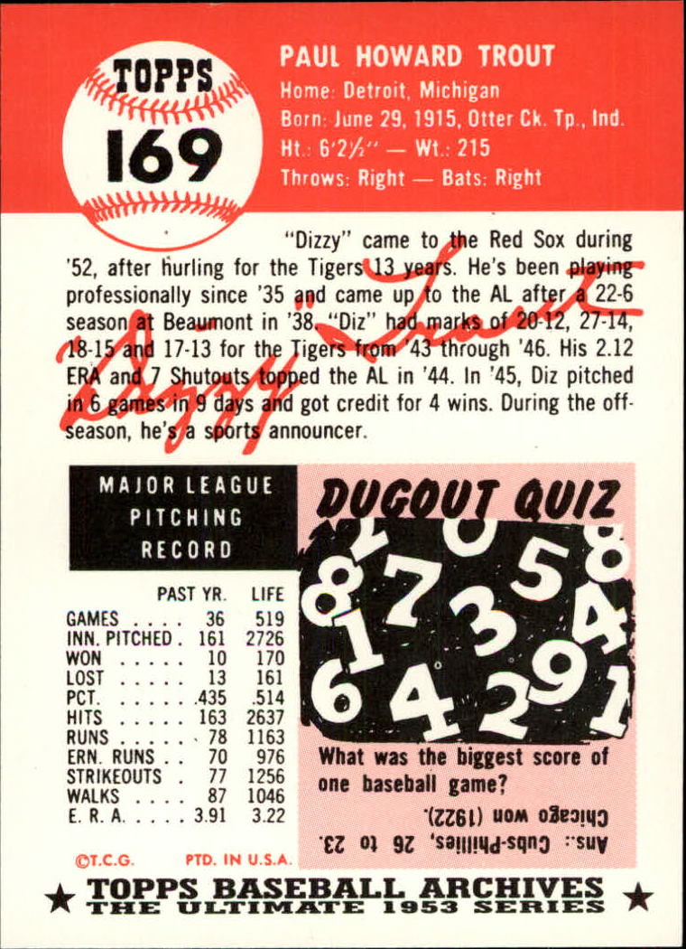 1991 Topps Archives 1953 #169 Dizzy Trout back image