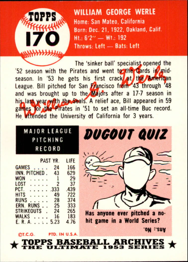 1991 Topps Archives 1953 #170 Bill Werle back image