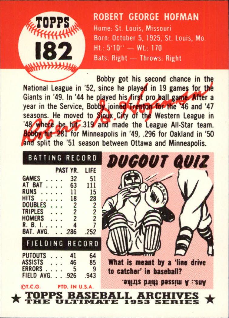 1991 Topps Archives 1953 #182 Bobby Hofman back image