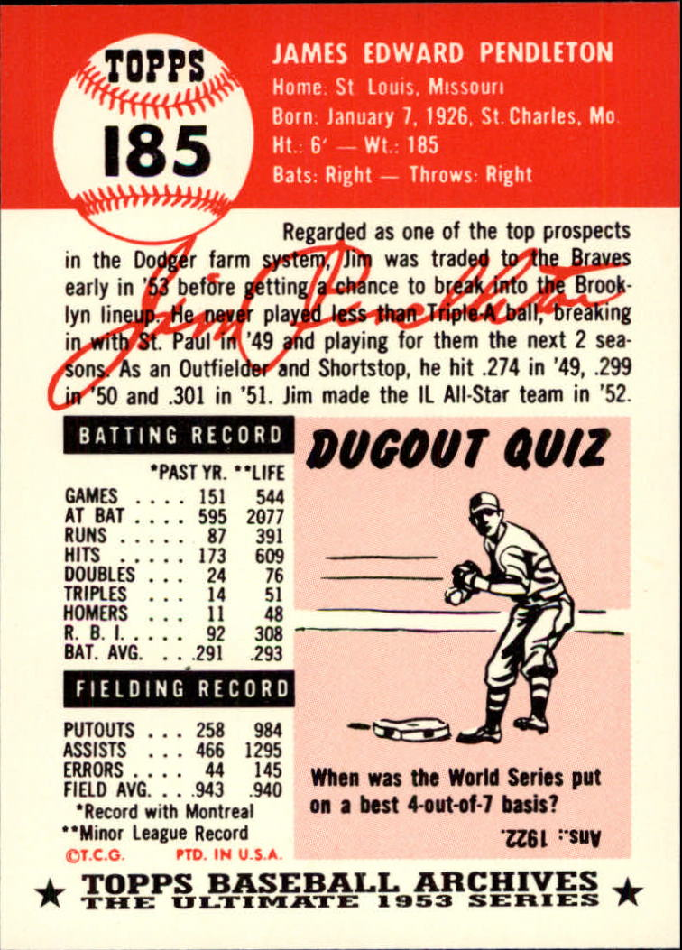 1991 Topps Archives 1953 #185 Jim Pendleton back image
