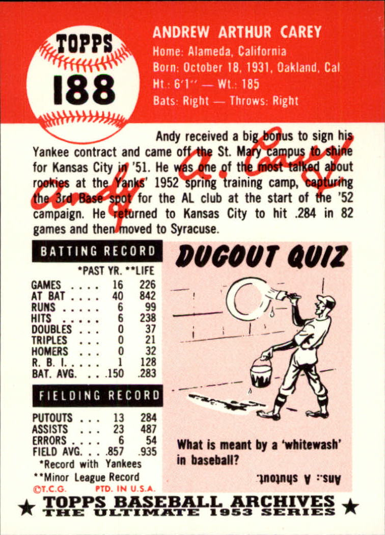 1991 Topps Archives 1953 #188 Andy Carey back image