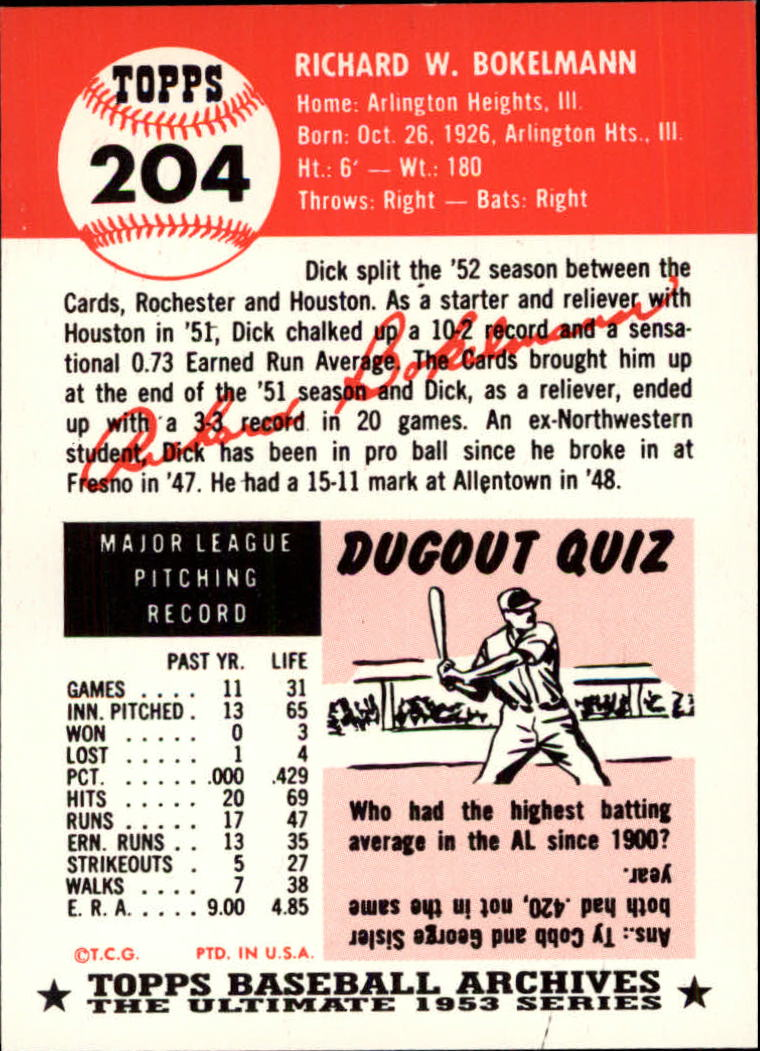 1991 Topps Archives 1953 #204 Dick Bokelman back image