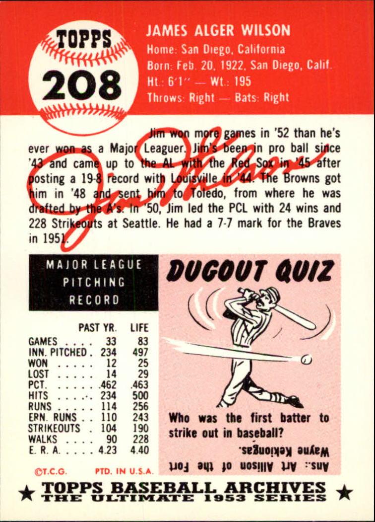 1991 Topps Archives 1953 #208 Jim Wilson back image
