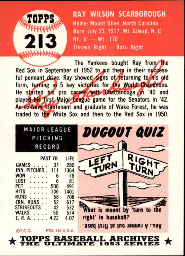 1991 Topps Archives 1953 #213 Ray Scarborough back image