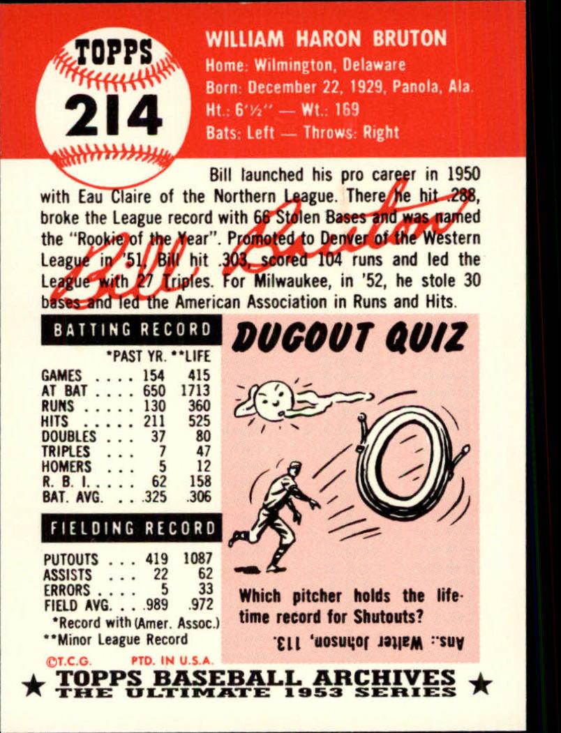 1991 Topps Archives 1953 #214 Bill Bruton back image
