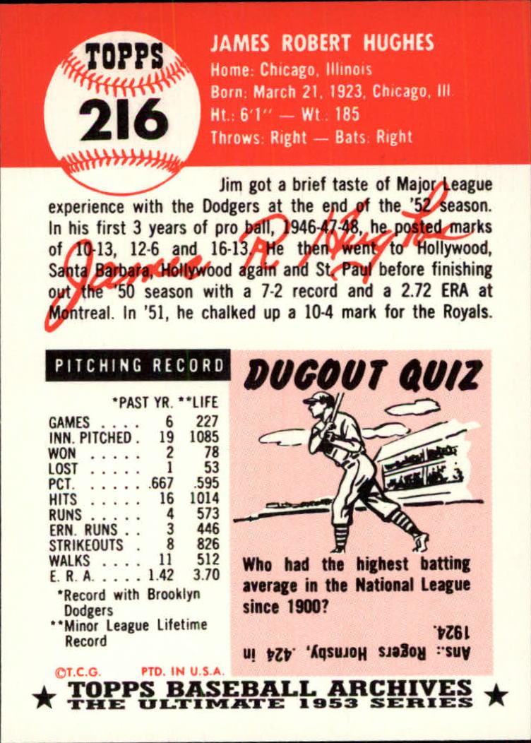 1991 Topps Archives 1953 #216 Jim Hughes back image