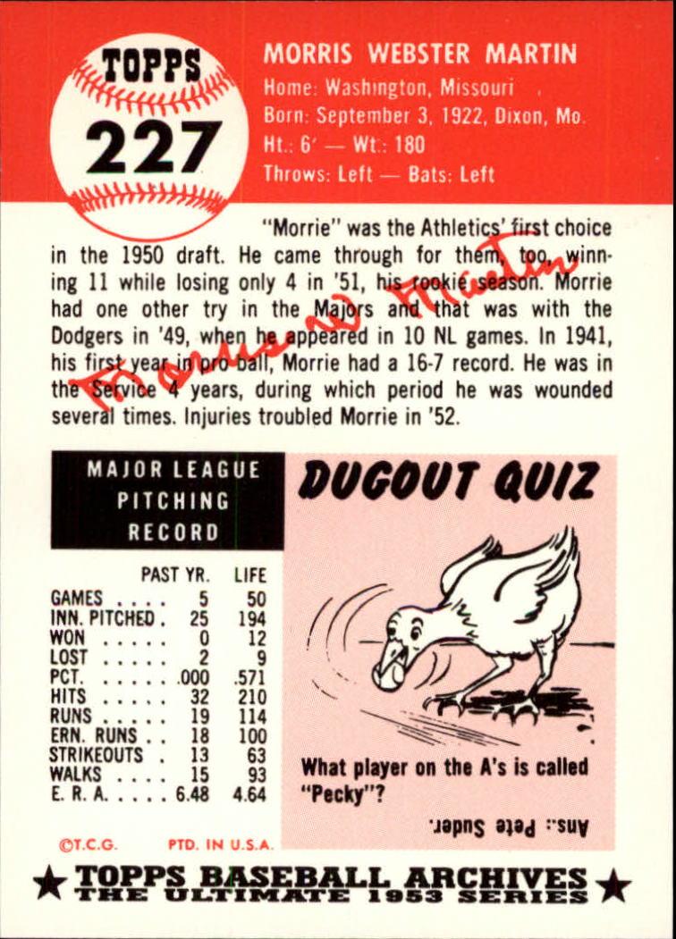 1991 Topps Archives 1953 #227 Morrie Martin back image