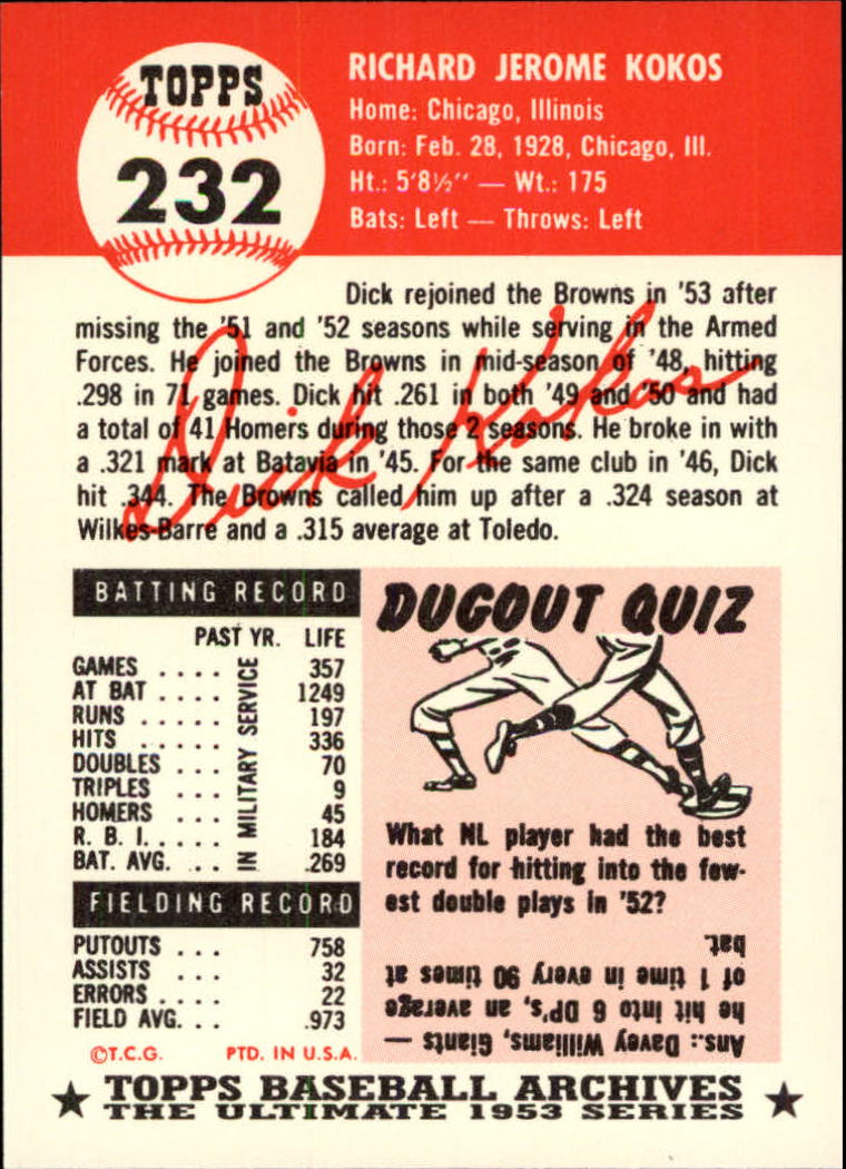 1991 Topps Archives 1953 #232 Dick Kokos back image