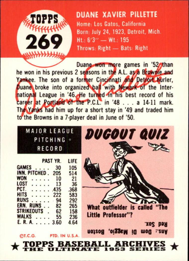 1991 Topps Archives 1953 #269 Duane Pillette back image