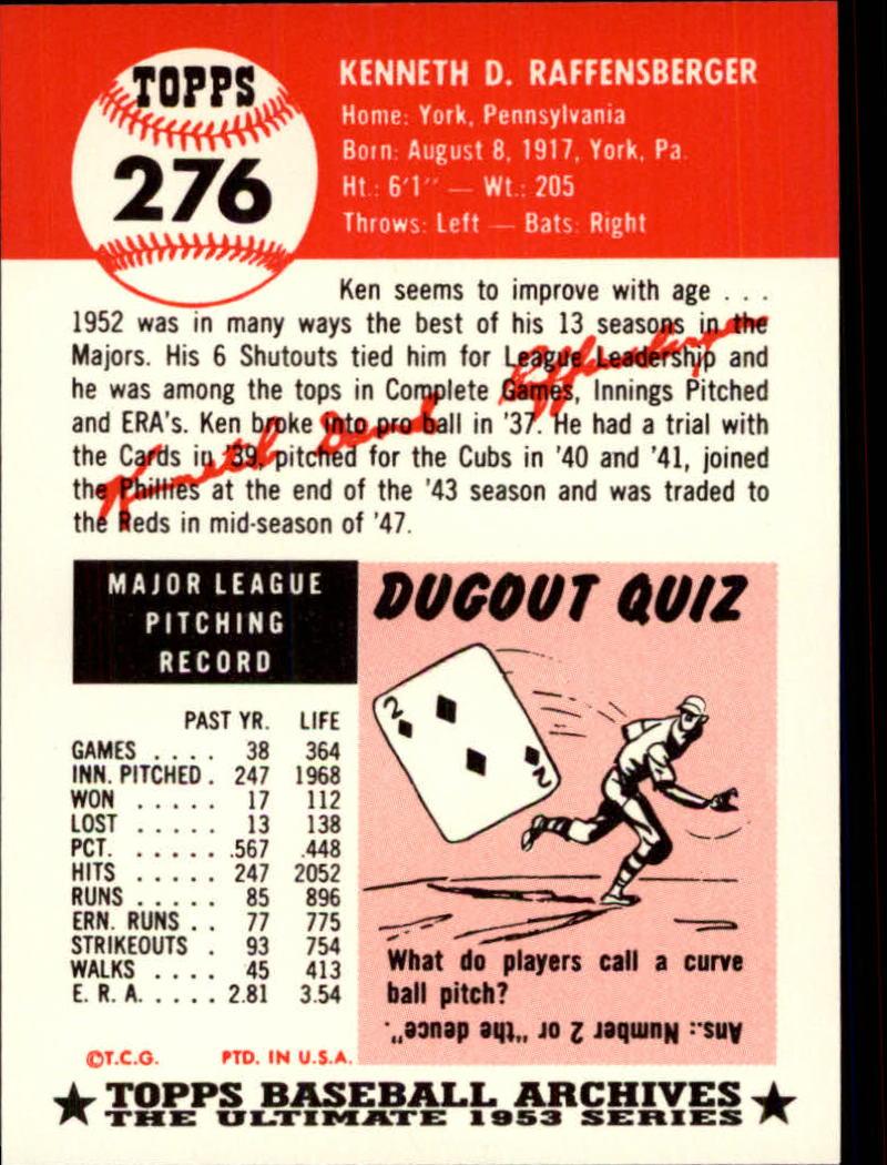1991 Topps Archives 1953 #276 Ken Raffensberger back image