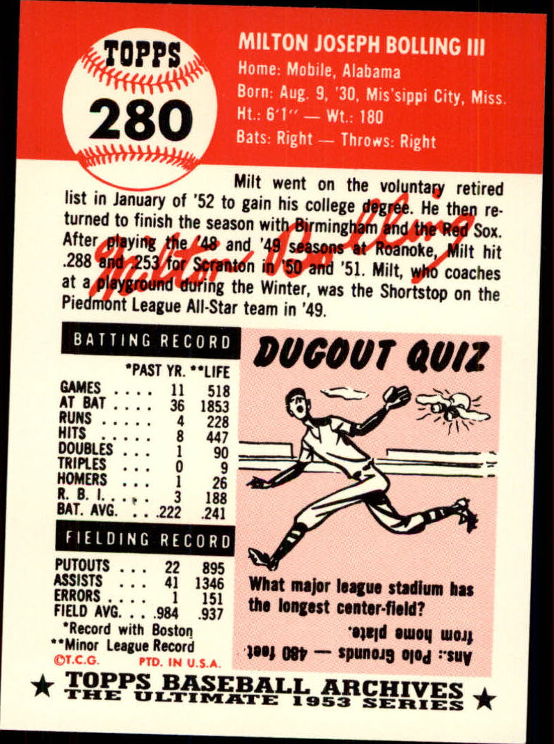 1991 Topps Archives 1953 #280 Milt Bolling back image