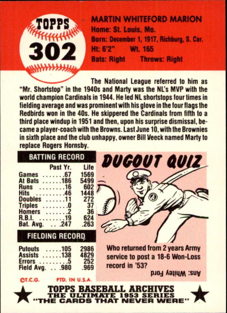 1991 Topps Archives 1953 #302 Marty Marion back image