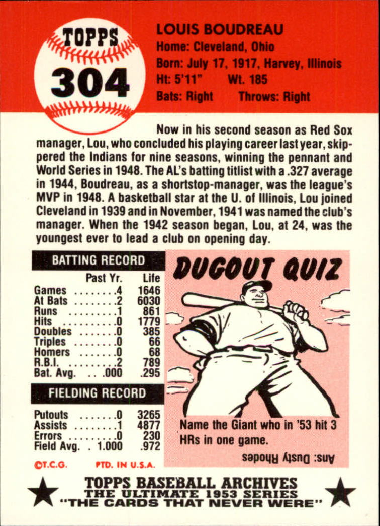 1991 Topps Archives 1953 #304 Lou Boudreau MG back image