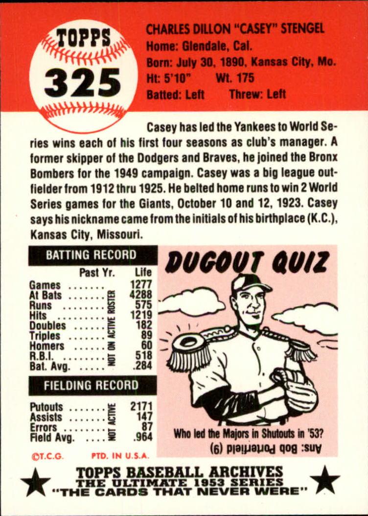 1991 Topps Archives 1953 #325 Casey Stengel MG back image