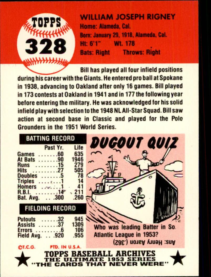 1991 Topps Archives 1953 #328 Bill Rigney back image