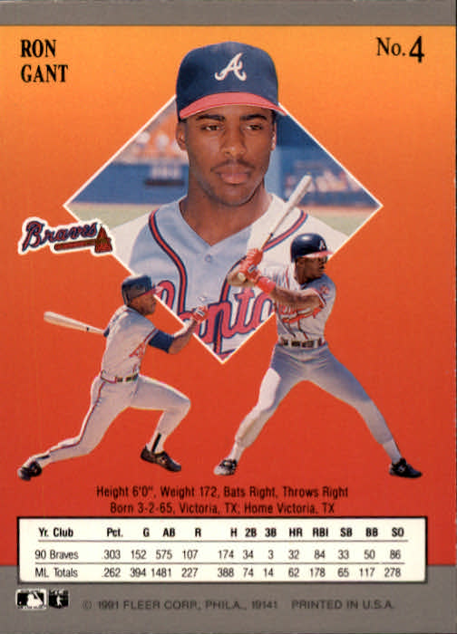 1991 Ultra #4 Ron Gant back image