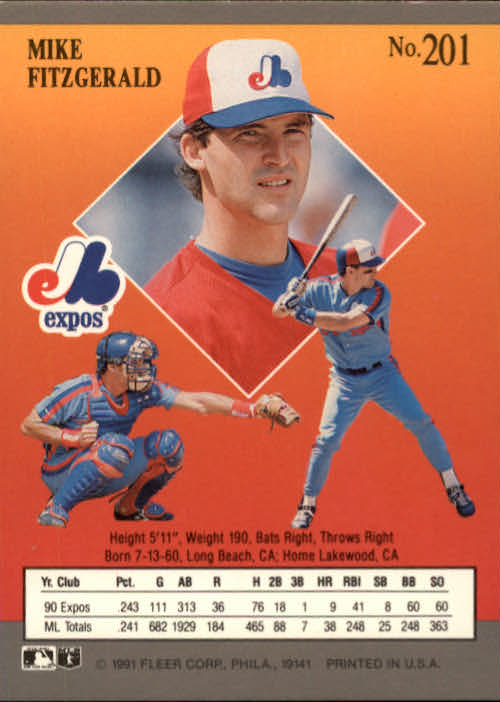 1991 Ultra #201 Mike Fitzgerald back image
