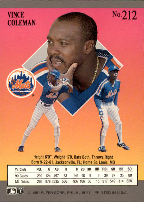 1991 Ultra #212 Vince Coleman back image