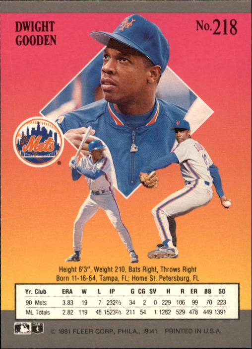 1991 Ultra #218 Dwight Gooden back image