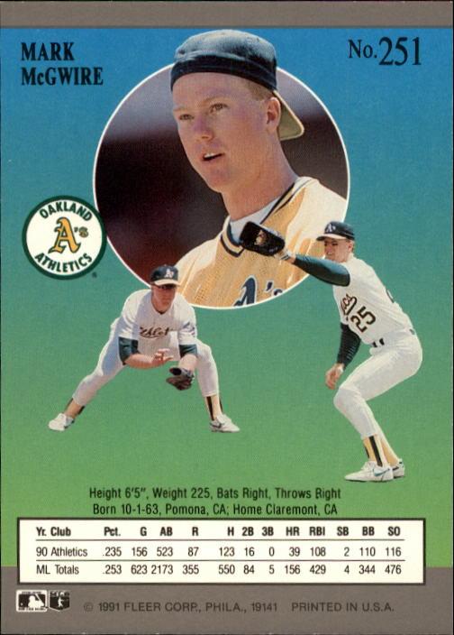 1991 Ultra #251 Mark McGwire back image