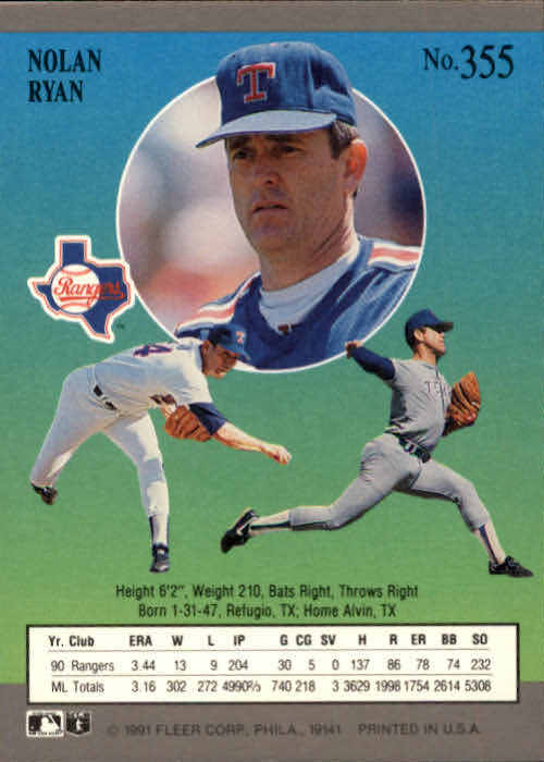 1991 Ultra #355 Nolan Ryan back image