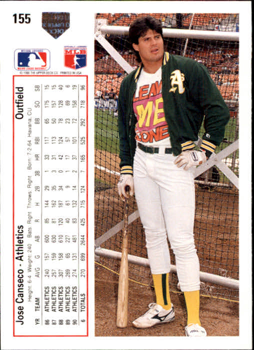1991 Upper Deck #155 Jose Canseco back image