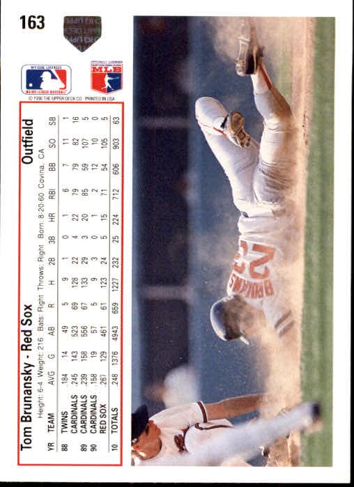 1991 Upper Deck #163 Tom Brunansky back image