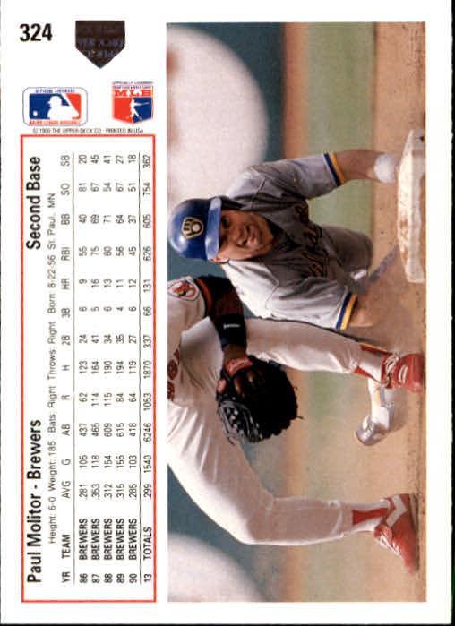 1991 Upper Deck #324 Paul Molitor back image