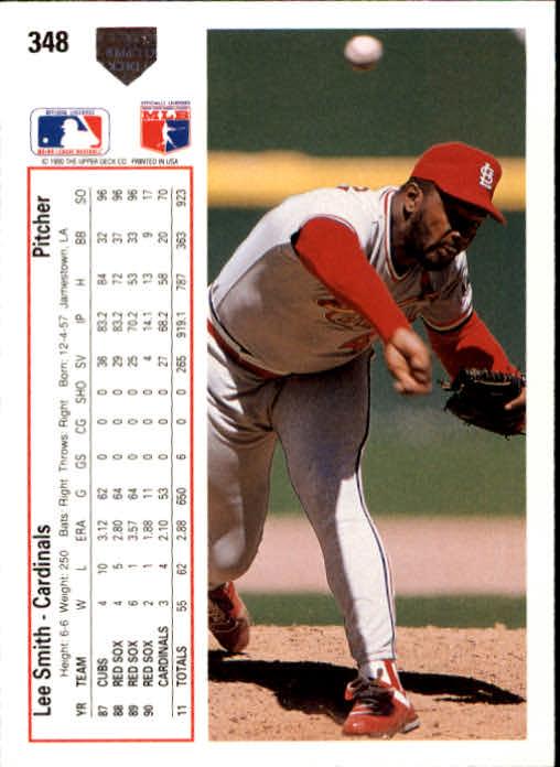 1991 Upper Deck #348 Lee Smith back image