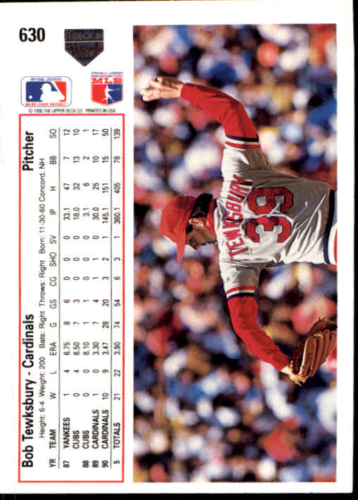 1991 Upper Deck #630 Bob Tewksbury back image