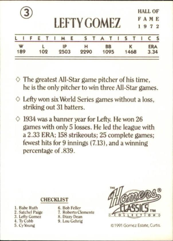 1991 Homers Cookies Classics #3 Lefty Gomez back image