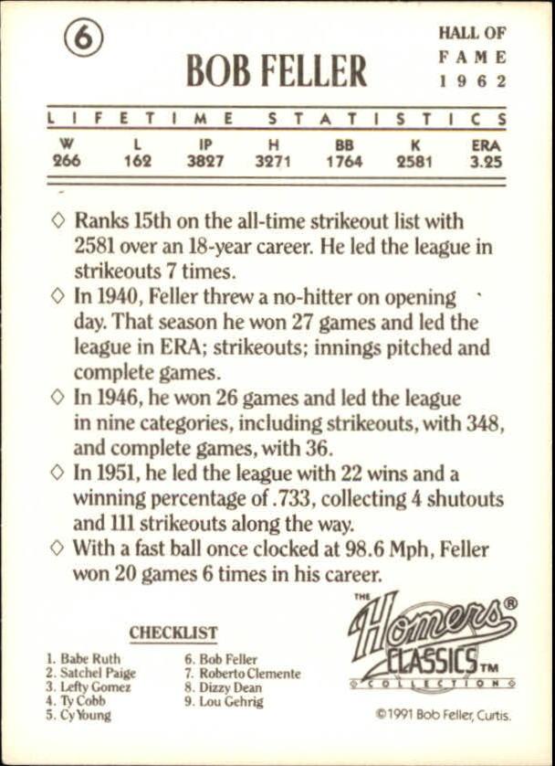 1991 Homers Cookies Classics #6 Bob Feller back image