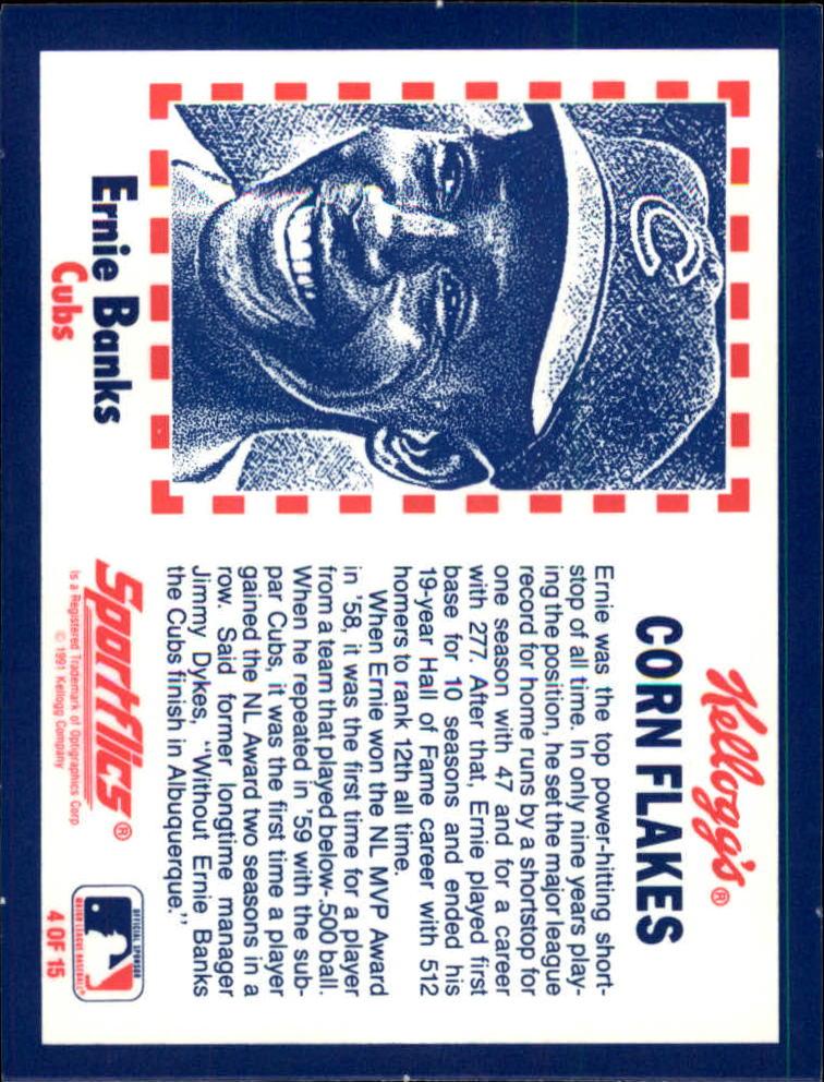 1991 Kellogg's 3D #4 Ernie Banks back image