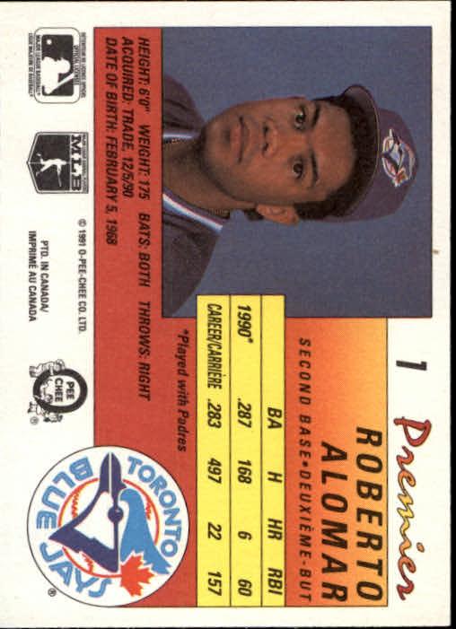 1991 O-Pee-Chee Premier #1 Roberto Alomar back image