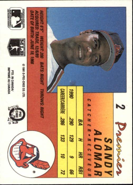 1991 O-Pee-Chee Premier #2 Sandy Alomar Jr. back image