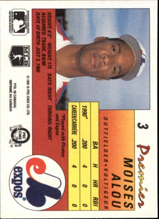 1991 O-Pee-Chee Premier #3 Moises Alou back image