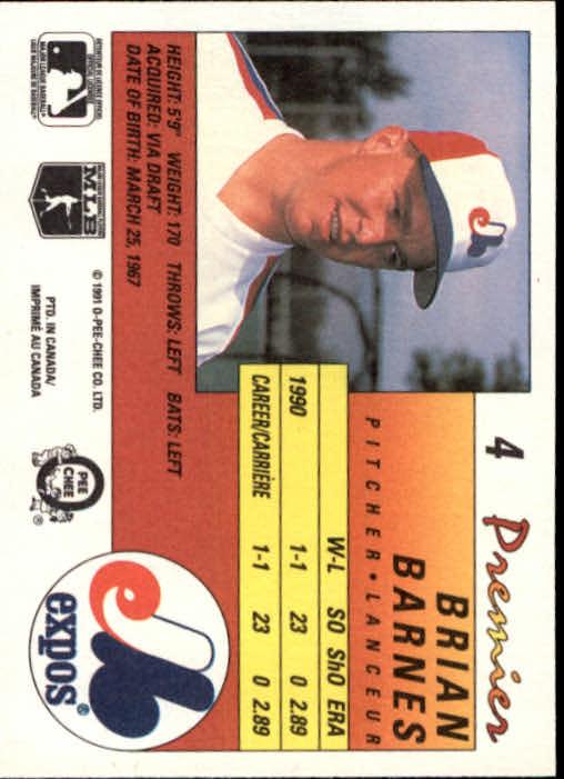 1991 O-Pee-Chee Premier #4 Brian Barnes back image