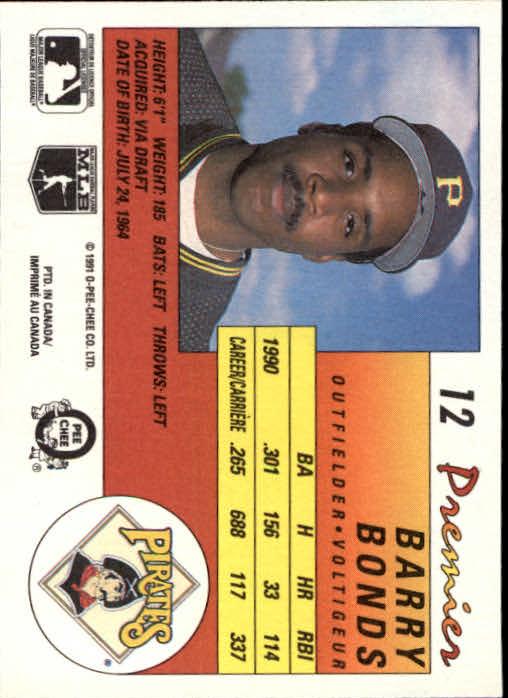 1991 O-Pee-Chee Premier #12 Barry Bonds back image