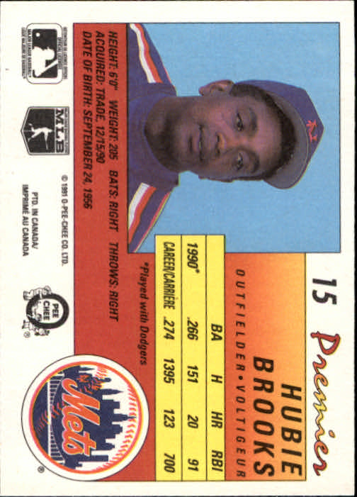 1991 O-Pee-Chee Premier #15 Hubie Brooks back image