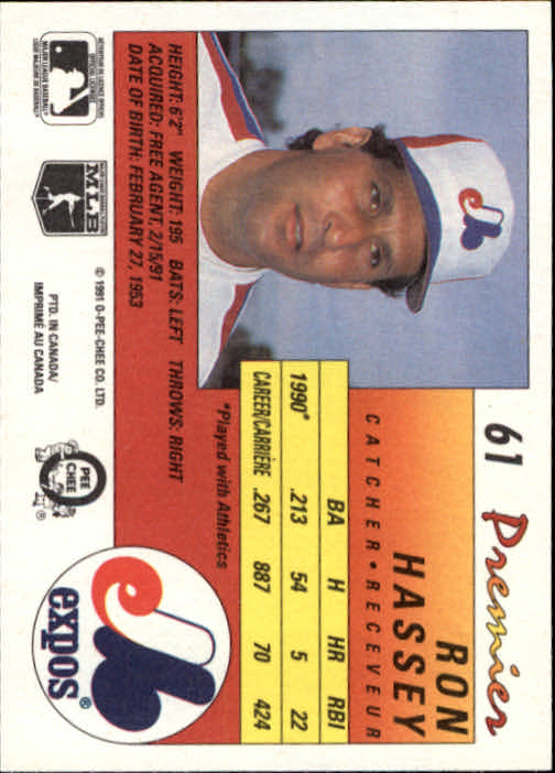 1991 O-Pee-Chee Premier #61 Ron Hassey back image