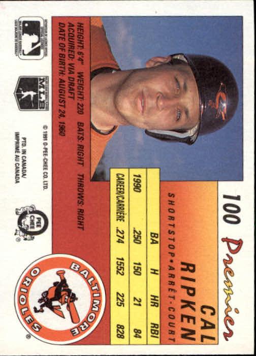 1991 O-Pee-Chee Premier #100 Cal Ripken back image
