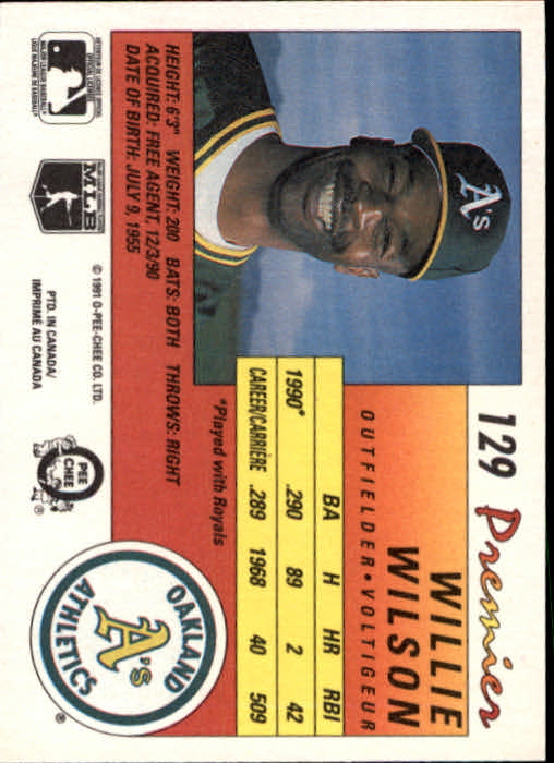 1991 O-Pee-Chee Premier #129 Willie Wilson back image