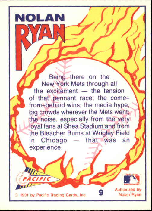 1991 Pacific Ryan Texas Express I #9 Nolan Ryan/Tensions of a Pennant Race back image