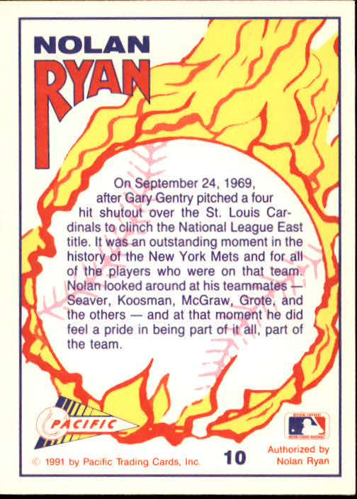 1991 Pacific Ryan Texas Express I #10 Nolan Ryan/Mets Clinch NL East back image
