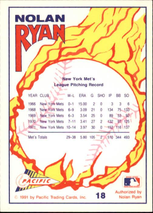 1991 Pacific Ryan Texas Express I #18 Nolan Ryan/Pitcher New York Mets back image